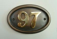 Bronze effect with brass - house number signs / plaques - 5 shapes nos 1 to 999