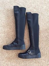 New Women's Marc My Marc Jacobs Over The Knee Leather Sneaker Boots Black 38 7.5