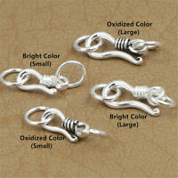10 Sterling Silver Hook Clasps w/ Rings 925 Silver S Clasp Connectors