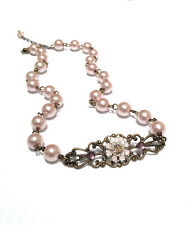 Pink Faux Pearl Choker Necklace with Crystals from Swarovski Flower