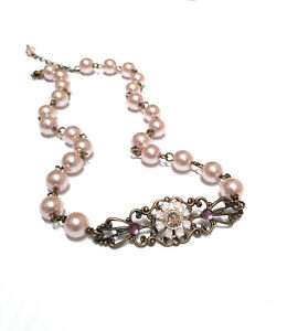 Pink Pearl Filigree Choker Necklace with Crystals from Swarovski Flower