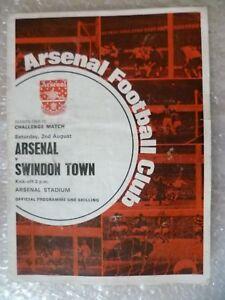 1969/70 ARSENAL v SWINDON TOWN, 2 Aug (Challenge Match)