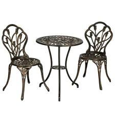 3pc Patio Bistro Furniture Set Outdoor Garden Iron Table Chair Bronze Sturdy New