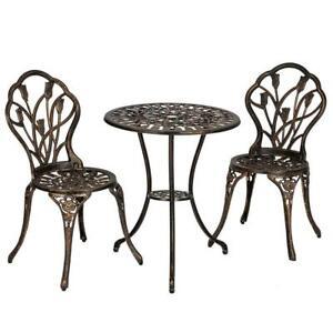 3pc Patio Bistro Dining Furniture Set Outdoor Garden Iron Table Chair Bronze US