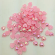 New 12mm 50pcs Heart-Shaped Pearl Bead Flat Back Scrapbook For Craft Light Pink