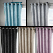 Velvet Sparkle Metalic Glitter Pair of Fully Lined Eyelet Ring Top Curtains