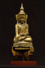 Antique Buddha statue in carved wood, Shan Period, Thailand 17th century
