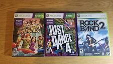 Lot of 3 xbox 360 games rock band 2 just dance 4 kinect adventures