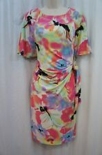 Tahari ASL Dress Sz 10 White Hot Pink Black Multi Mara Business Cocktail Dinner