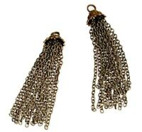 "Tassel Bronze 3"" Chains Pendant Necklace Jewelry Making Charm Beading Gypsy BOHO"