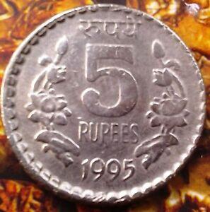 India-republic 5 Rupees, 1995 -c off center strike error coin