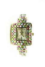 Multicolor Rhinestone Cuff Watch Bracelet Embassy By Gruen Ladies Quartz