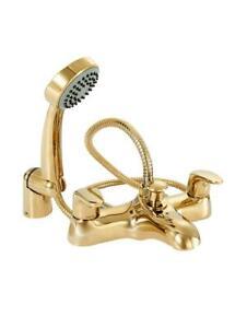 Deva ADORE106/501 Adore Gold Deck Mounted Bath Shower Mixer Tap inc Hose & Hand
