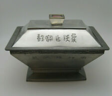 BEAUTIFUL Old Chinese Pewter 3 Part Food Warmer w Jadeite & Pink Stone signed
