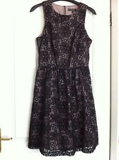 Womens Black Floral Lace Party / Races Dress By Warehouse. Size 10.