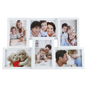Family 6 Multi Aperture Photo Picture Frame Holds 6X4 Photos White&Black