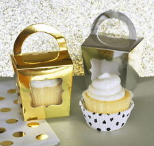 24 Gold Silver Foil Cupcake Tote Window Handle Wedding Shower Party Favor Boxes