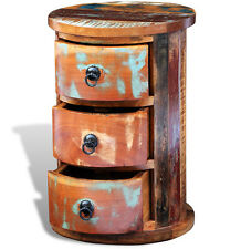 Indian Bedside Table Rustic End Furniture Round Side Cabinet Industrial Unit