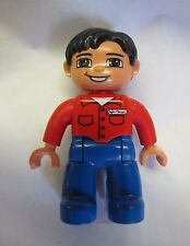 "Lego Duplo WORKER MAN w/ Red Shirt Blue Pants 2.5"" MINI FIGURE Excellent Minifig"