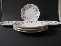 6 x White Ceramic 17.5cm Sandwich Side Cake Tea Plates with Floral Design Lovely
