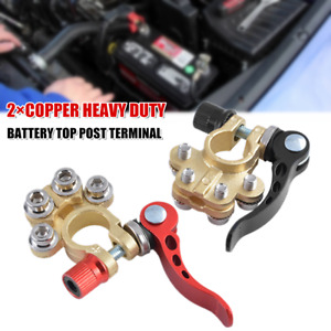 2PCS Copper Car Truck Universal Battery Top Post Terminal Disconnect Switch Link