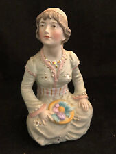Ancien Biscuit Polychrome Vers 1900 Jeune Femme Antique French