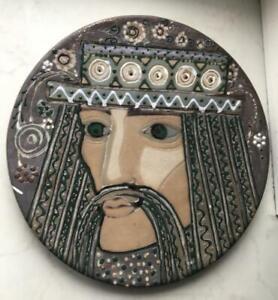Huge Vintage Soviet Handmade Pottery Ceramic Wall Hanging Plate Hutsul Lviv