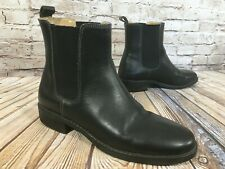 LL BEAN Black Leather Chelsea Ankle Boots Women's Size 8 M