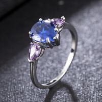 Elegant 925 Silver Rings Pear Cut Blue Sapphire Women Wedding Ring Size 6-10