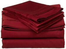 4-pc Olympic Queen 100% Egyptian Cotton Burgundy Sheet Set Triple Pleated Hem