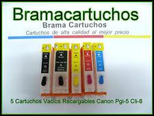 5 X CARTUCHOS RECARGABLES  PARA CANON PGI-5 CLI-8 ip3300 ip4200 Mp520 pgi5 cli8