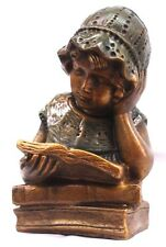 Victorian Girl Reading Book Statue Vintage Sculpture
