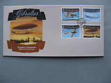 GIBRALTAR, cover FDC 2010, set 100 years aviation aircraft zeppelin