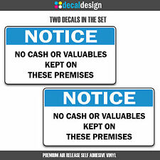 Vinyl Decals 2 Pack No Cash or Valuables Kept on Premises shop window door signs