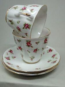 2x ROSALIE Royal Albert Bone China Tea Cup Saucer Duo