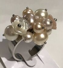 Signed Sterling Silver 925 Multi-Gemstone Pearl Cluster Ring Size 10