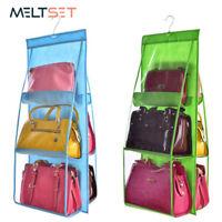 6 Pocket Folding Hanging Handbag Storage Holder Organizer Rack Hook Hanger