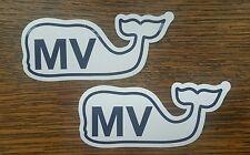 """(2) Vineyard Vines Martha's Vineyard """"MV"""" Whale Bumper Stickers Decals"""