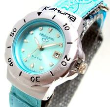 KAHUNA GIRL'S OR WOMEN'S TURQUOISE DIAL FLOWER PATTERN NYLON STRAP WATCH -AK001