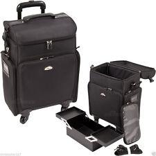 Salon Trolley Bag On Wheels Rolling Black Supply Makeup Hairstylist Case Laptop
