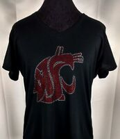Women's Washington State Cougars Rhinestone Football V-neck T-Shirt Tee Bling
