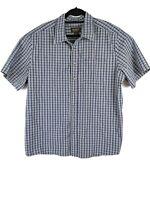 Eddie Bauer Button Front Down Short Sleeve Blue Plaid Cotton Shirt Mens Size XL
