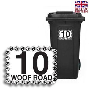 A5 [4 X Pack] - Dog Paws, Personalised Wheelie Bin Sticker / Vinyl Labels wit...