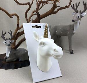 Target Pillowfort UNICORN Animal Head Wall Decor White Porcelain Gold Horn