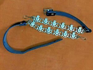 """Thistle Flower Sporran Chain Belt Genuine Black Leather 28"""" to 42"""" Waist"""