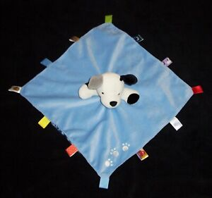 Taggies Blue Puppy Dog Baby Blanket Paw Prints Red Scarf Satin Plush Security
