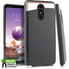 For LG Stylo 4 - Magnetic Back Plate Hybrid Carbon Fiber Black Skin Case Cover