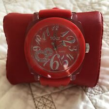 Tocs Watch Red Dial Clear Case Red Rubber Band. Protective Plastic Still On Face