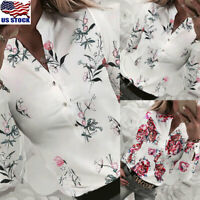 Womens V Neck Floral Print Shirt Ladies Causal Long Sleeve Button Blouse Tops US