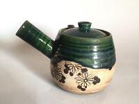 Japanese Antique TEA POT kyusu sencha Oribe ware Green glaze  Tea Ceremony (M38)